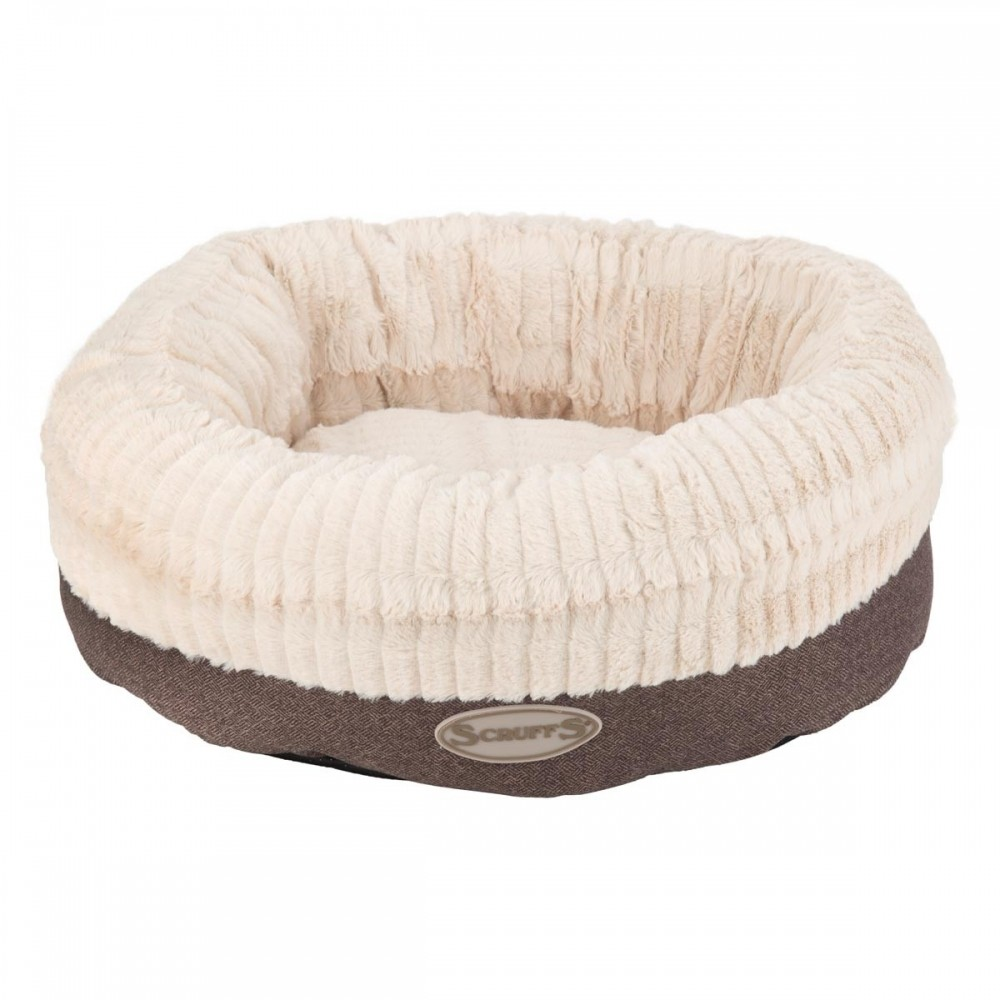 Fluffig rund donut hundbädd