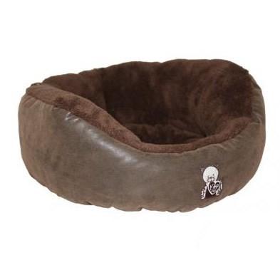Handgjord hundbädd med mocka-utseende.